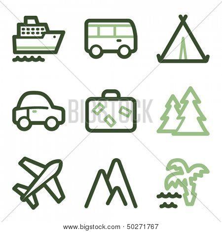 Travel icons set 1, green line contour series