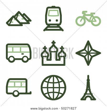 Travel icons set 2, green line contour series
