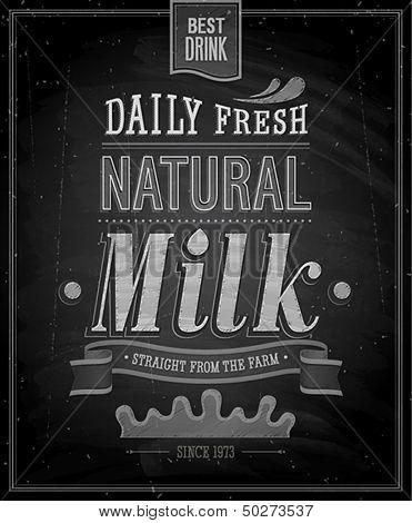 Vintage Milk poster - Chalkboard. Vector illustration.