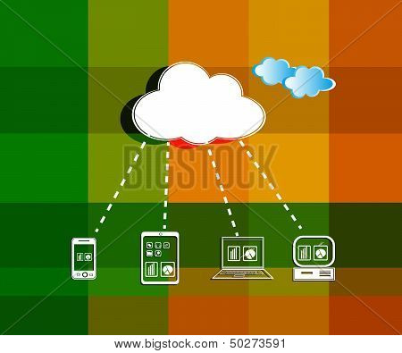 Vector Illustration Of Cloud Computing Network On A Texture Background With Beautify Clouds