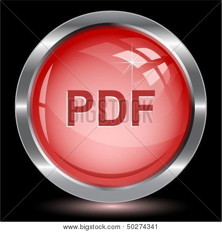 Pdf. Internet button. Vector illustration.