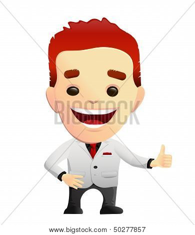 Smiling Guy In A White Suit giving Thumbs Up