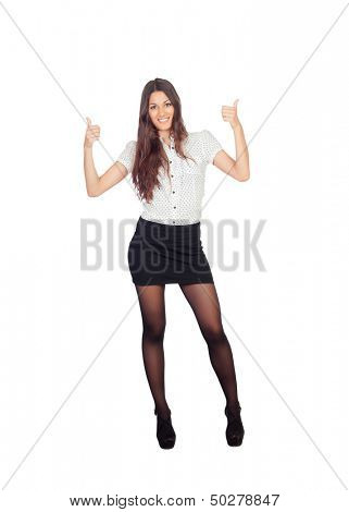 Pretty businesswoman in a stylish miniskirt saying Ok isolated on white