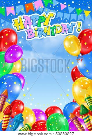 Festive background with multicolored balloons. Vector.