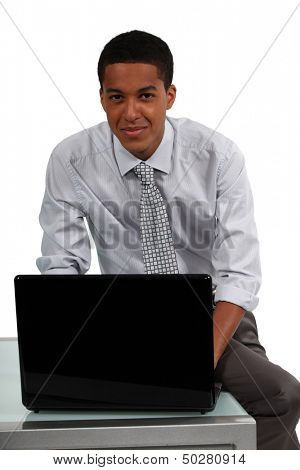 Professional working on his laptop