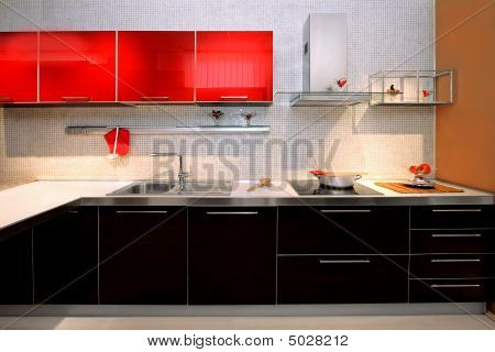 Постер, плакат: Современная кухня Счетчик, холст на подрамнике