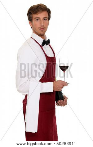 portrait of handsome young sommelier