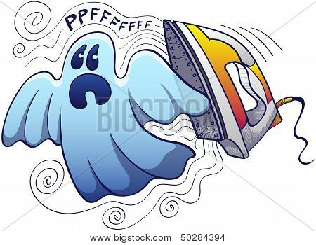 Scared ghost being chased by a terrific modern electric steam iron