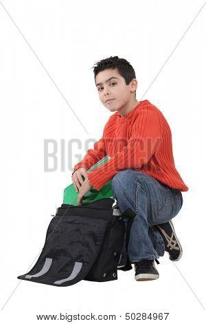 Schüler mit Tasche