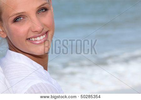 Wman stood on the beach