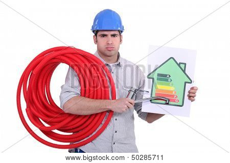 Grumpy man giving a property an energy efficiency rating of G