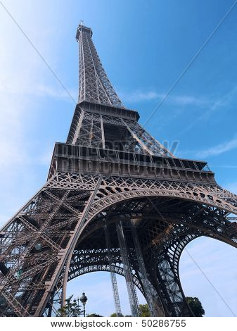 Eiffel Tower shot upwards against blue sky