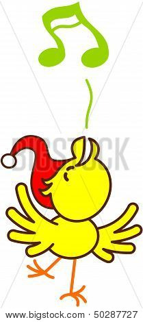 Nice Christmas bird singing animatedly