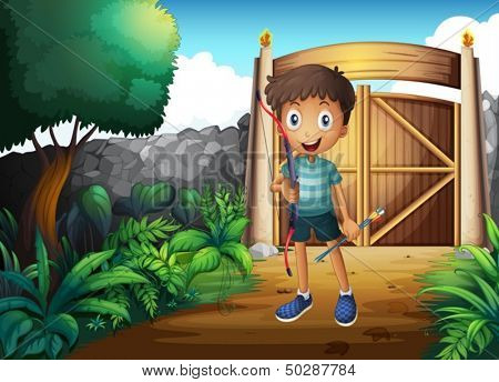 Illustration of a boy inside the gated yard with a bow and arrow