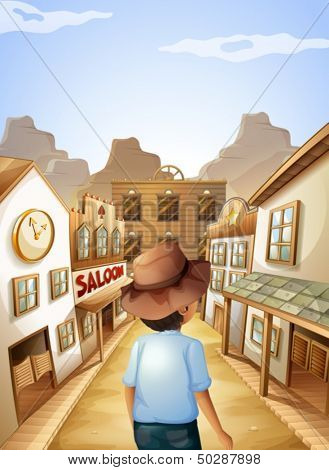 Illustration of a young man with a hat going to the saloon bar