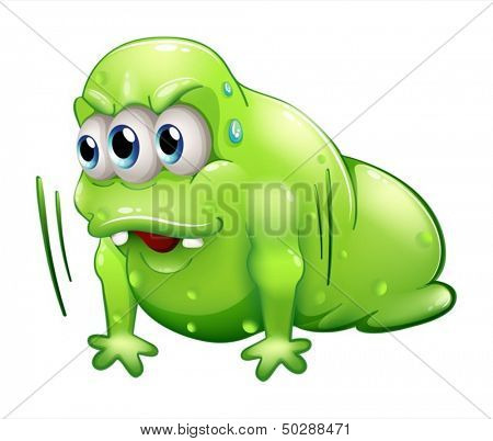 Illustration of a greenslime monster doing the push-up exercise on a white background