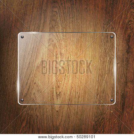 Glass Shelf On Wood Background, Vector Illustration