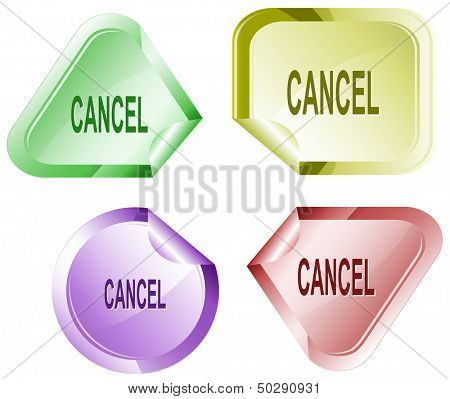 Cancel. Stickers. Raster illustration. Vector version is in my portfolio.