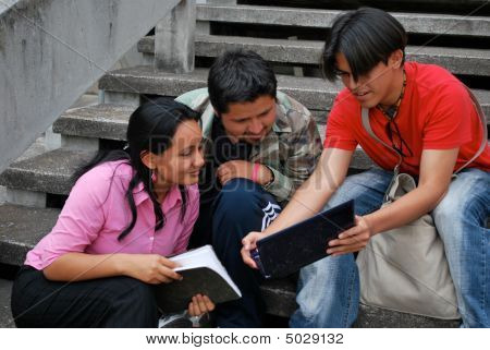 Hispanic Students Studying Together