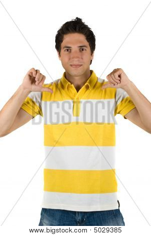 Young Man In Blank T-shirt