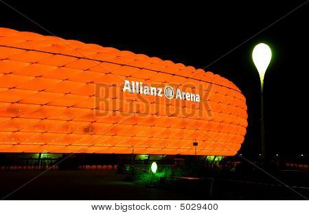 The Colorful Illumination Of Allianz Arena In Munich