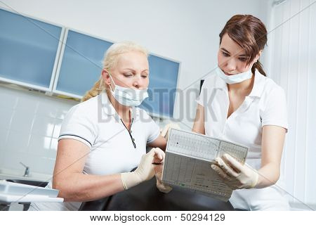 Dentist and dental assistant reading medical records of a patient prior to treatment