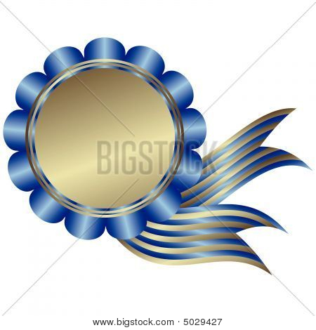 Silvery Medal With Blue Ribbon