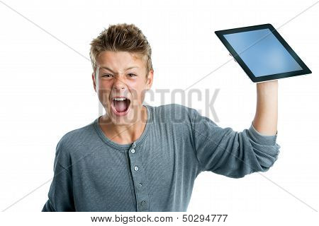Angry Teen About To Smash Tablet.