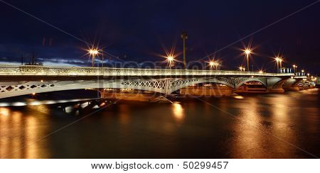 Russia, Saint-petersburg, Blagoveshchensky Bridge Across River Neva, With Night Illumination.