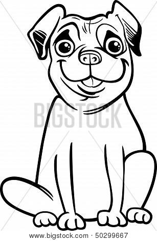 Pug Dog Cartoon For Coloring Book