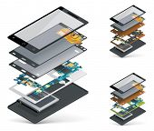 foto of isometric  - Vector isometric smartphone cutaway - JPG