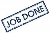stock photo of job well done  - job done blue square stamp on white background - JPG