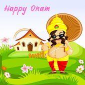pic of pookolam  - vector illustration of King Mahabali wishing Happy Onam - JPG
