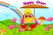 picture of pookolam  - vector illustration of King Mahabali wishing Happy Onam - JPG