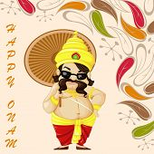 picture of pookolam  - vector illustration of King Mahabali wishing Happy Onam - JPG