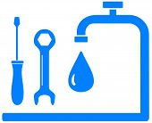 stock photo of spigot  - blue sign plumbing work with wrench screwdriver and tap and drop - JPG