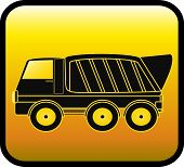 picture of monster-truck  - silhouette big dump truck on a glossy yellow background - JPG