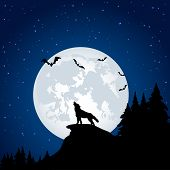 stock photo of wolf moon  - Silhouette of a wolf on Moon background - JPG