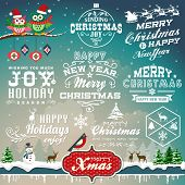 stock photo of winter trees  - Christmas decoration collection of calligraphic and typographic design with labels - JPG