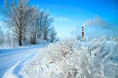 stock photo of ozone layer  - beautiful winter day and industrial air pollution - JPG