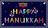 image of hebrew  - Happy Hanukkah banner with menorah and dreidels - JPG