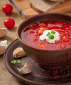 image of beet  - Ukrainian and russian national red soup borsch closeup - JPG