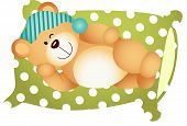foto of goodnight  - Scalable vectorial image representing a sleeping on pillow cute teddy bear - JPG