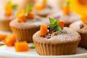 stock photo of walnut  - sweet pumpkin muffins with walnuts and powdered sugar - JPG