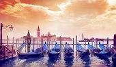 image of gondola  - gondola in the morning sun in Venice - JPG