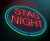 picture of bachelor party  - Illustration depicting an illuminated neon sign with a stag party concept - JPG