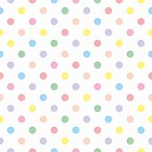 picture of pastel  - Seamless vector pattern with colorful pastel polka dots on white background for kids background - JPG
