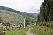 foto of ropeway  - the ropeway in mountains of Carpathians of Ukraine - JPG