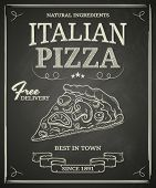 image of pasta  - Italian pizza poster on black chalkboard - JPG
