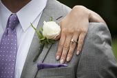 stock photo of boutonniere  - horizontal photograph of a bride - JPG